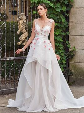 Ericdress Floral Appliques Tiered Garden Wedding Dress