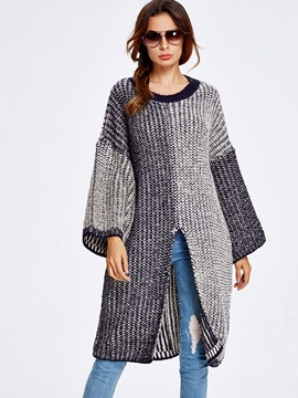Erincdress Color Block Split Front Loose Knitwear
