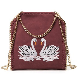 Ericdress Ethnic Swan Embroidery Chain Decorated Crossbody Bag