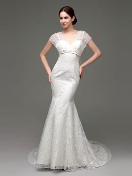 Ericdress High Quality V Neck Mermaid Lace Wedding Dress