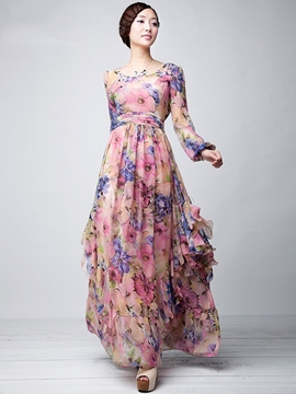 Ericdress plissée imprimé Floral vague coupe Patchwork robe Maxi