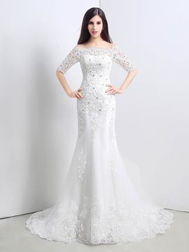 Ericdress Elegant Off The Shoulder Half Sleeves Mermaid Wedding Dress