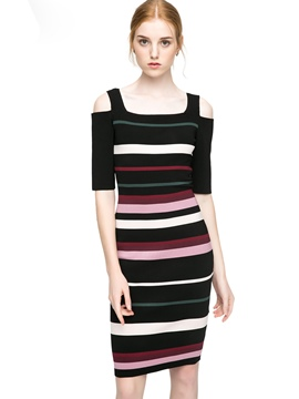 Ericdress Square Neck Cold Shoulder Stripe Sweater Dress