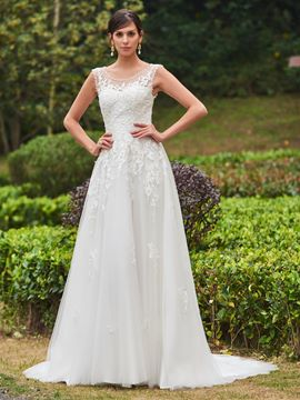 Ericdress Scoop Appliques A Line Wedding Dress