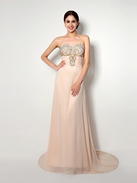 Ericdress A Line Beaded Sweetheart Chiffon Long Evening Dress