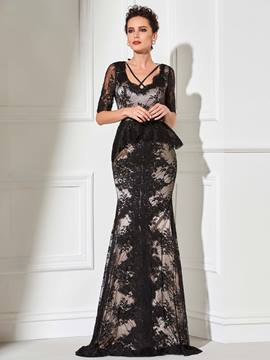 Ericdress Elegant Half Sleeve Black Lace Sheath Evening Dress