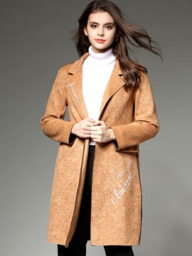 Ericdress Straight Solid Color Letters Printed Trench Coat