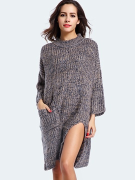 Ericdress Cowl-Neck Solid Color Pocket Split Sweater Dress