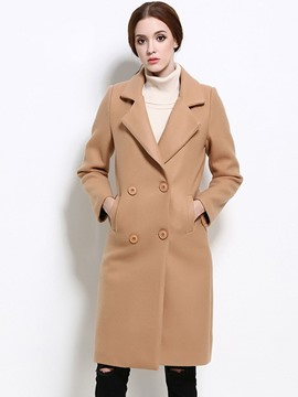 Ericdress Double-Breasted Slim Plain Coat