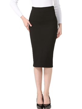 Ericdress Solid Color High-Waist Patchwork Bodycon Skirt