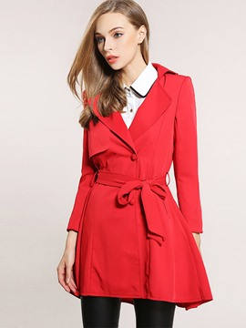 Ericdress Solid Color Bowknot Slim Trench Coat