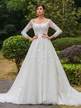 Ericdress Elegant Square Neckline Appliques A Line Long Sleeves Wedding Dress