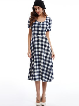 ericdress Rundhals Einreiher Plaid casual dress