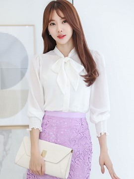 Ericdress Tie Bow Front Three-Quarter Blouse