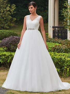 Ericdress High Quality V Neck Beaded A Line Wedding Dress