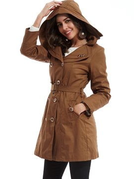 Ericdress Plain Double-Breasted Hooded Fleece Trench Coat