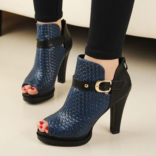 Ericdress Patchwork Dark Blue Belted Peep Toe Fashion Booties