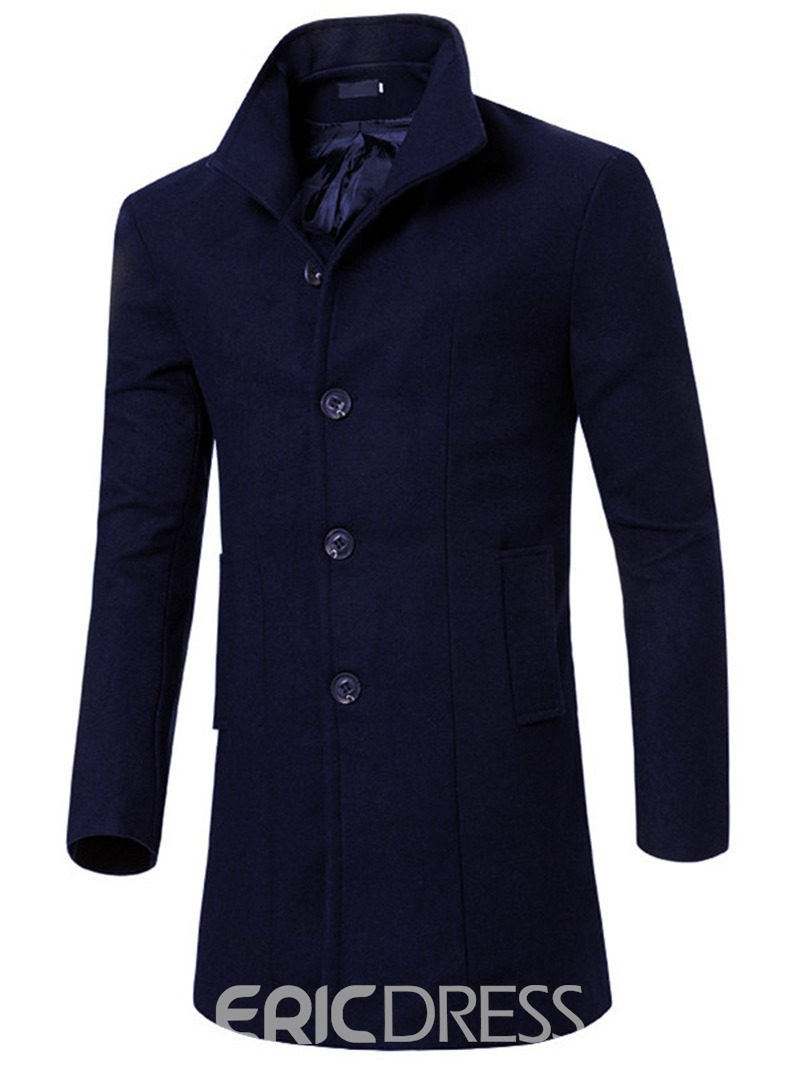Ericdress Long Slim Solid Color Men's Trench Coat
