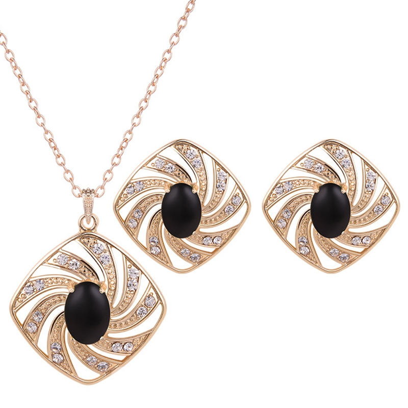 Ericdress Black Artificial Stone Inlaid Golden Jewelry Set