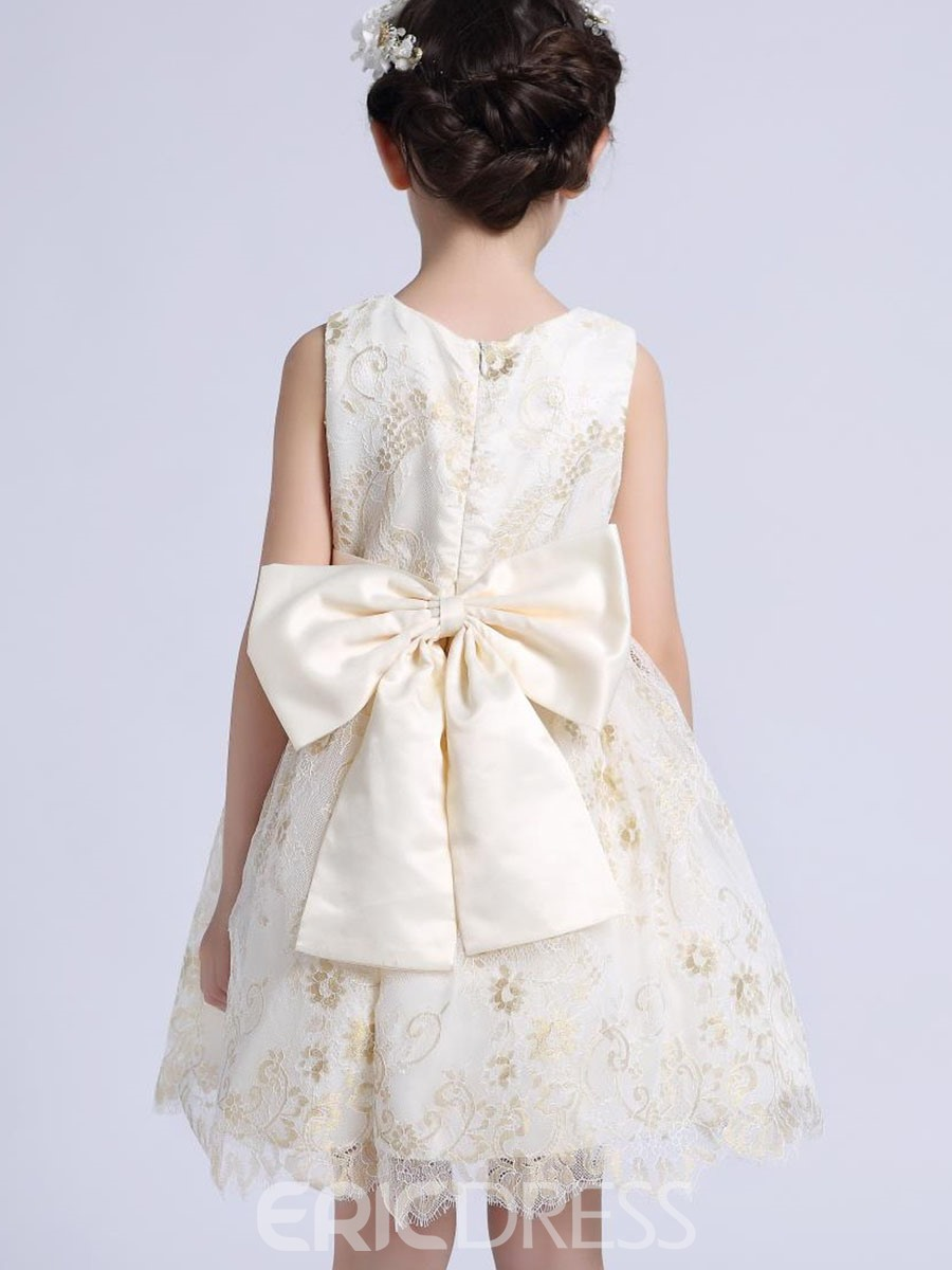 Ericdress Lace Flower Sleeveless Bow Girls Princess Dress
