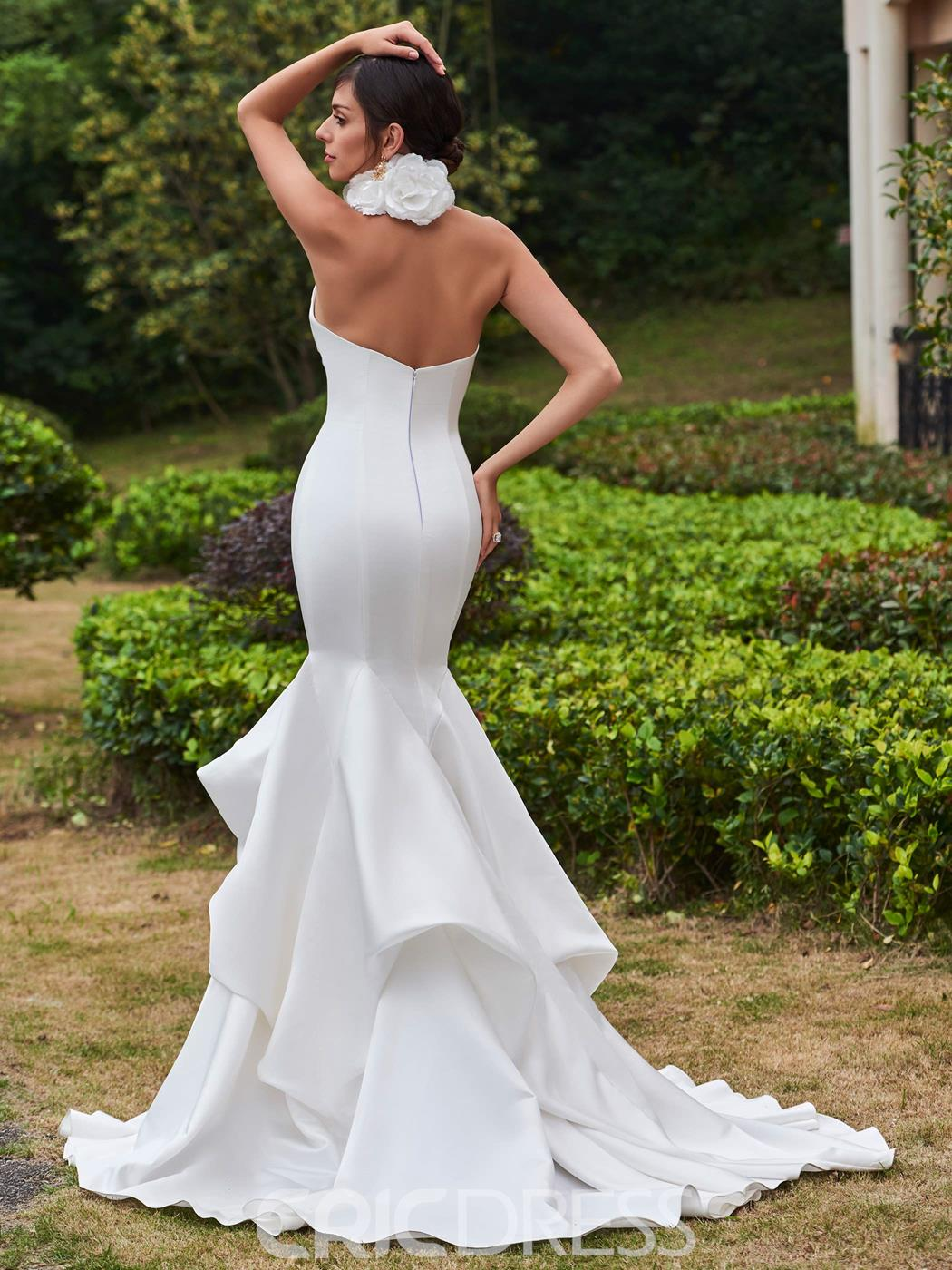 Ericdress Amazing High Neck Flower Mermaid Wedding Dress