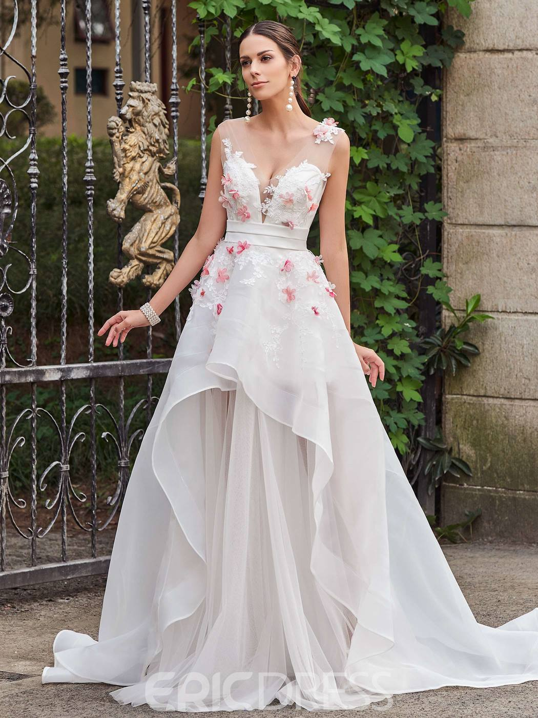 Ericdress Charming Illusion Neck Appliques Flowers Asymmetry Color Wedding Dress