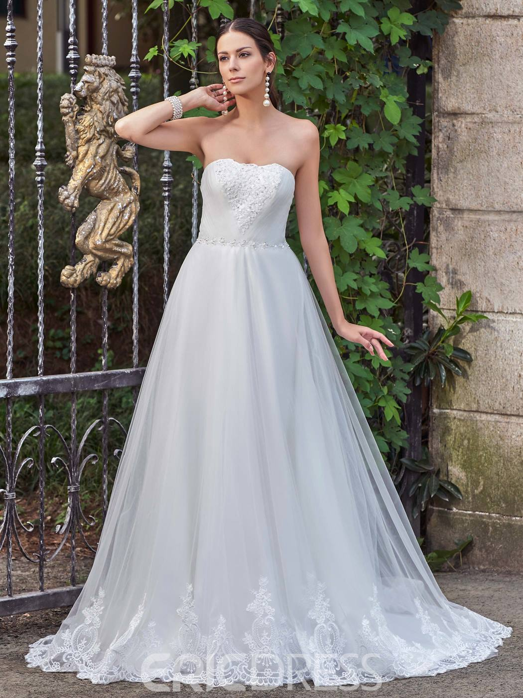 Ericdress Elegant Appliques Court Train Strapless A Line Wedding Dress