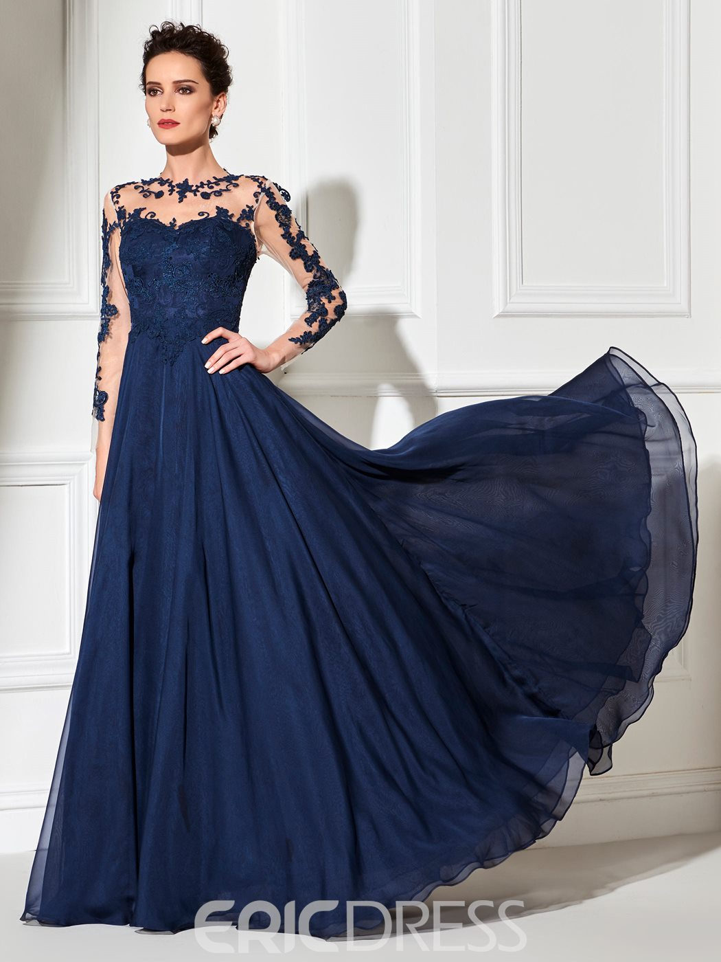 Ericdress Sheer Long Sleeve Applique Long Evening Dress
