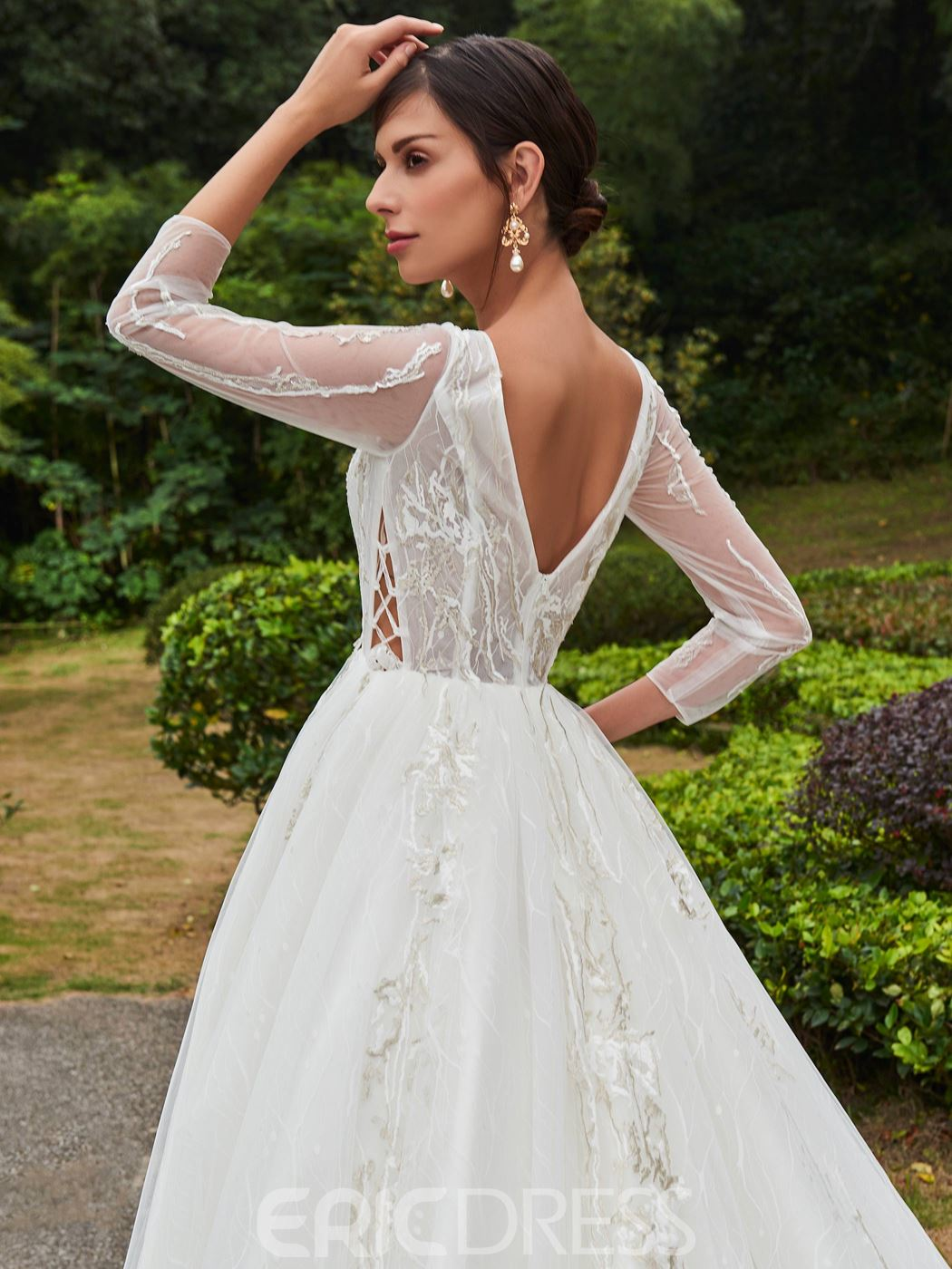 Ericdress Elegant Bateau Off The Shoulder A Line Long Sleeves Wedding Dress