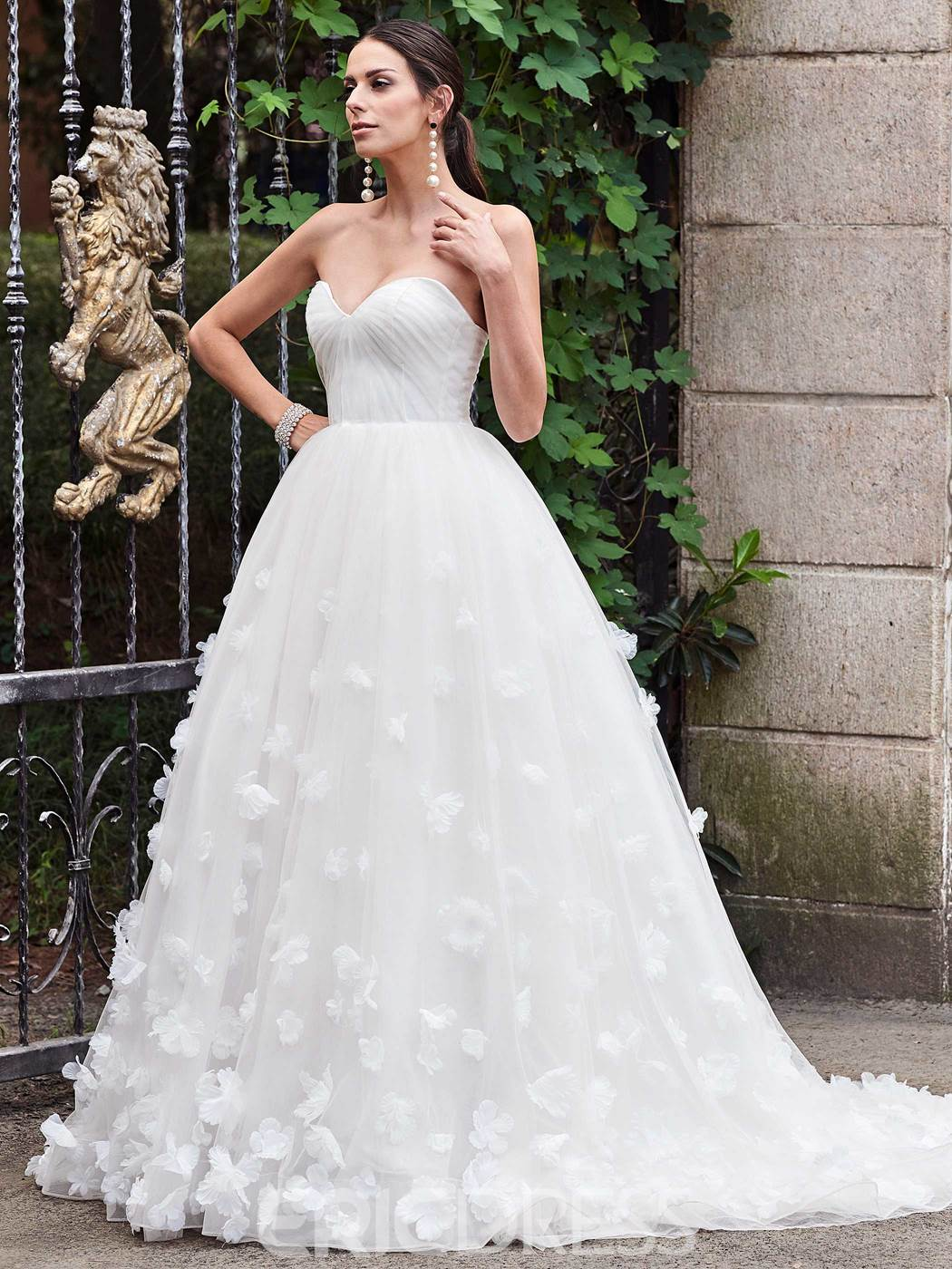 Ericdress Charming Sweetheart Flowers A Line Wedding Dress