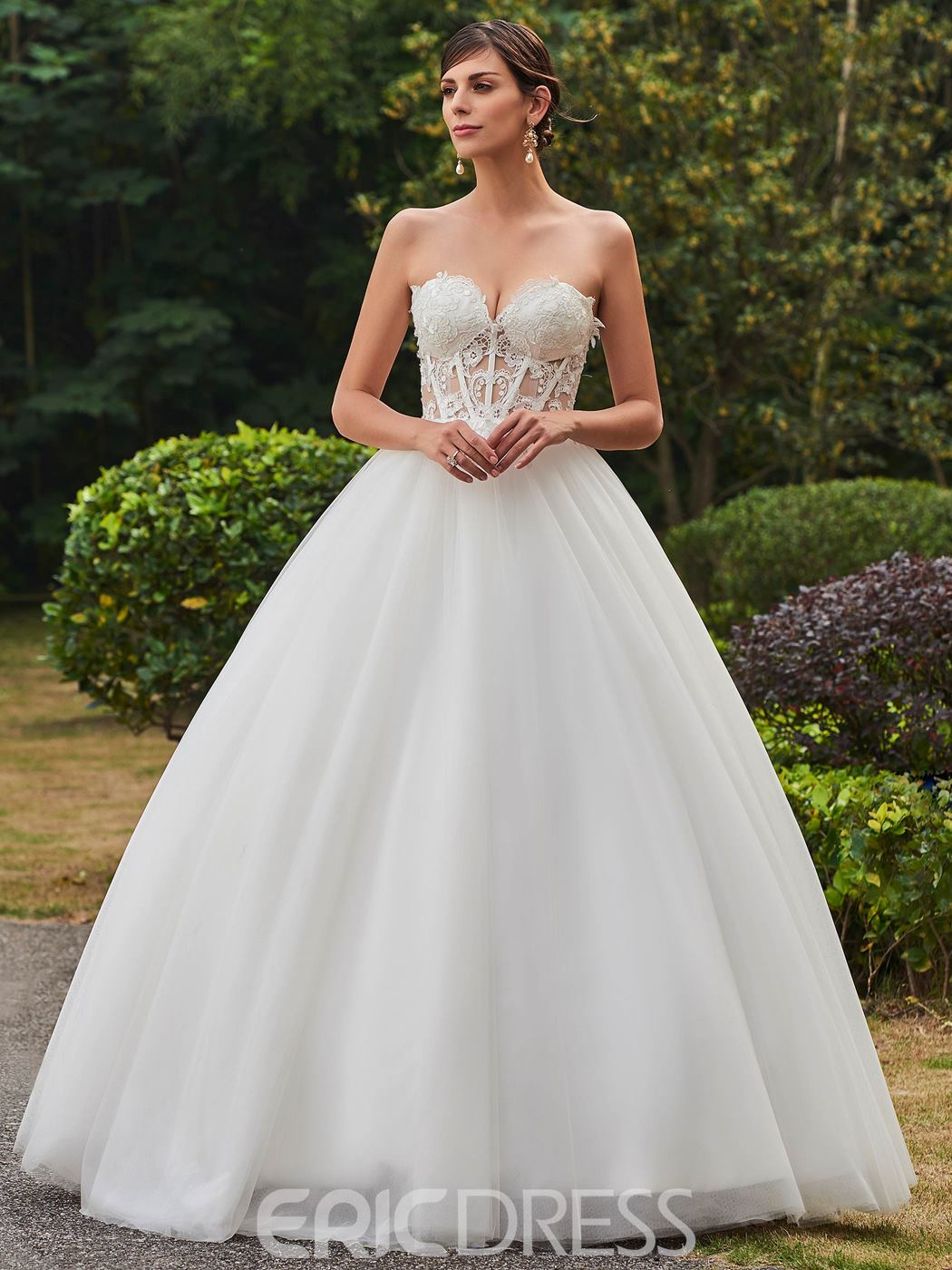 Ericdress Sexy Sweetheart Appliques Ball Gown Wedding Dress
