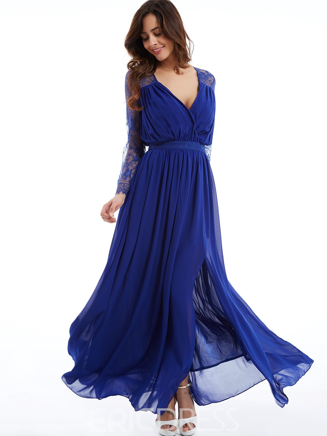 Ericdress Fancy Long Sleeve V Neck Chiffon Evening Dress