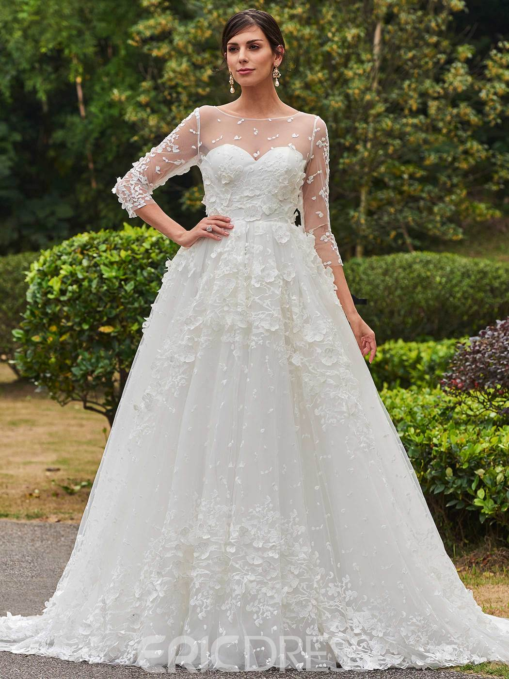 Ericdress Charming Bateau A Line Lace Wedding Dress With Sleeves