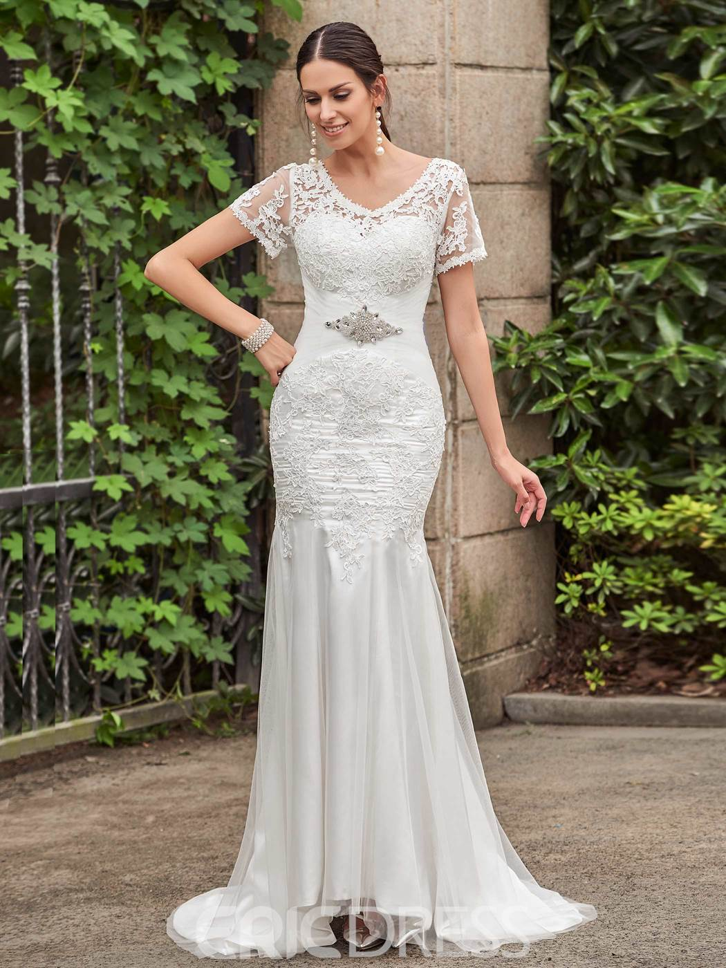 Ericdress Classic V Neck Short Sleeves Lace Mermaid Wedding Dress