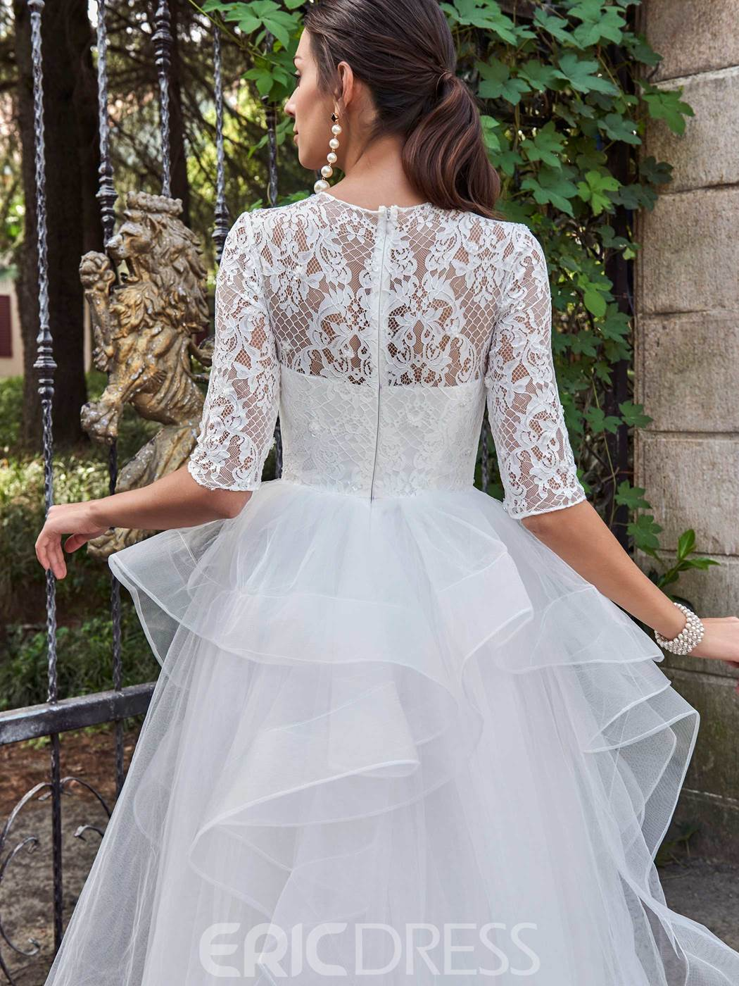Ericdress Tiered Lace Half Sleeve Ball Gown Wedding Dress
