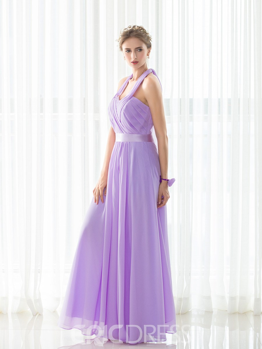 Ericdress Halter A Line Chiffon Long Bridesmaid Dress