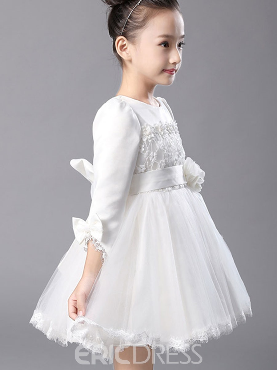 Ericdress Lace Bowknot Thick Girl's Puffy Dress