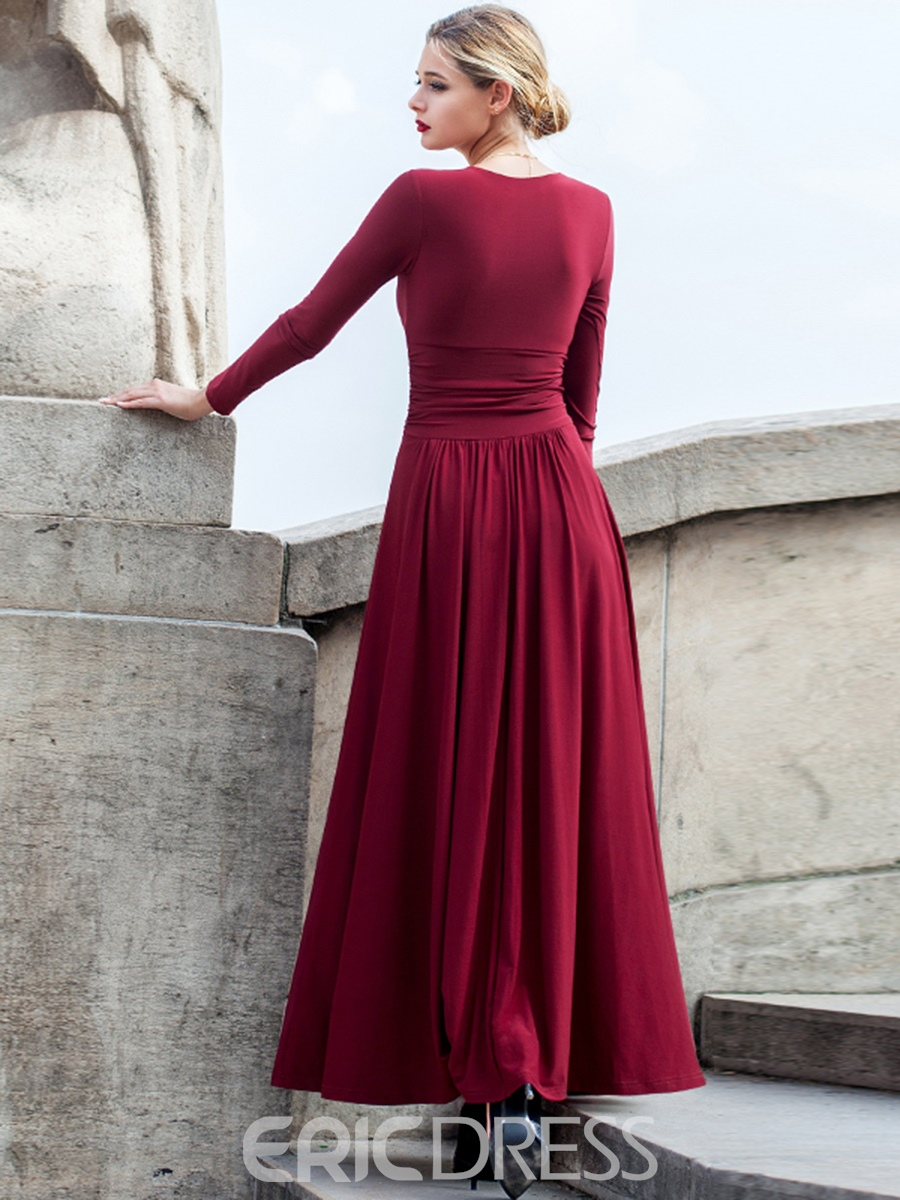 Ericdress Plain V-Neck High-Waist Pleated Maxi Dress