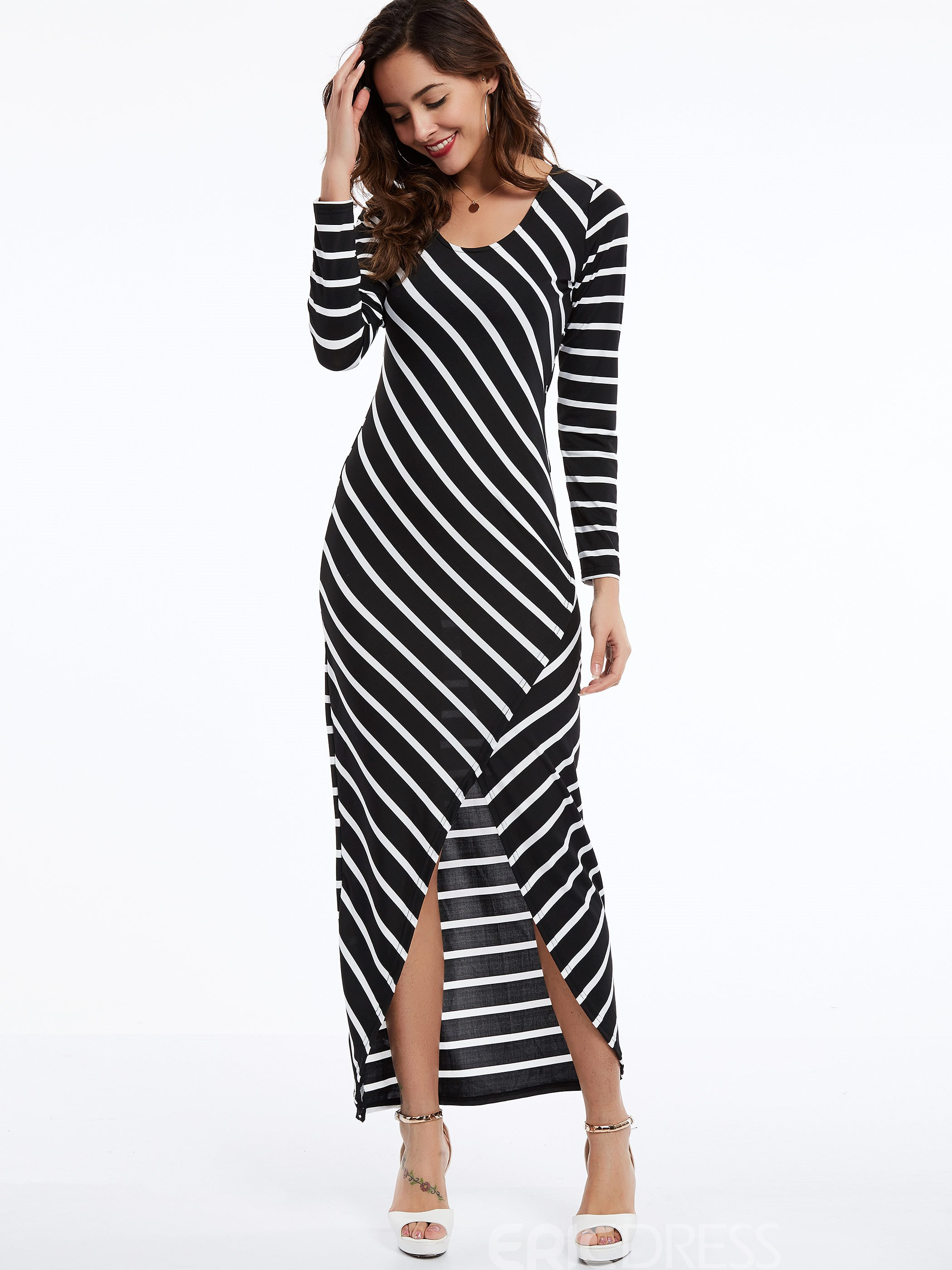 Ericdress Round Neck Striped Maxi Dress