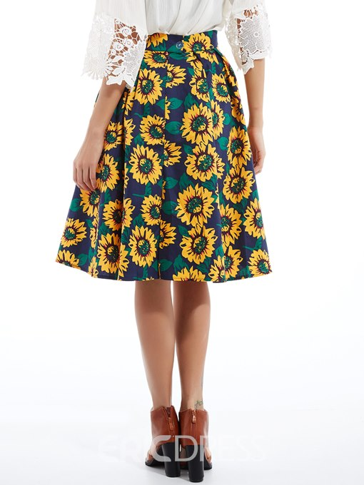 Ericdress Classical Pleated Floral Print Usual Skirt