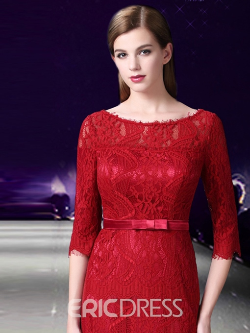 Ericdress Elegant Half Sleeve Floor Length Long Lace Evening Dress