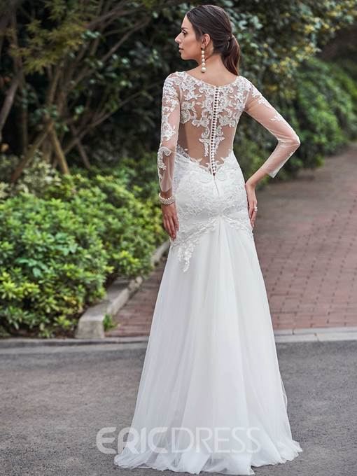 Ericdress High Quality Scoop Appliques Long Sleeves Mermaid Wedding Dress