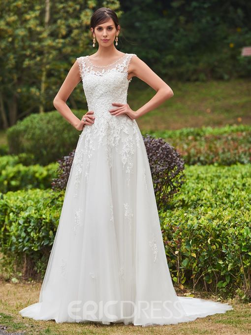 Ericdress Beading Scoop Neck Appliques Garden Wedding Dress