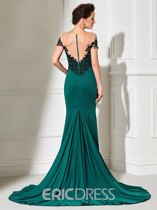 Ericdress Short Sleeve Scoop Neck Lace Applique Long Mermaid Evening Dress