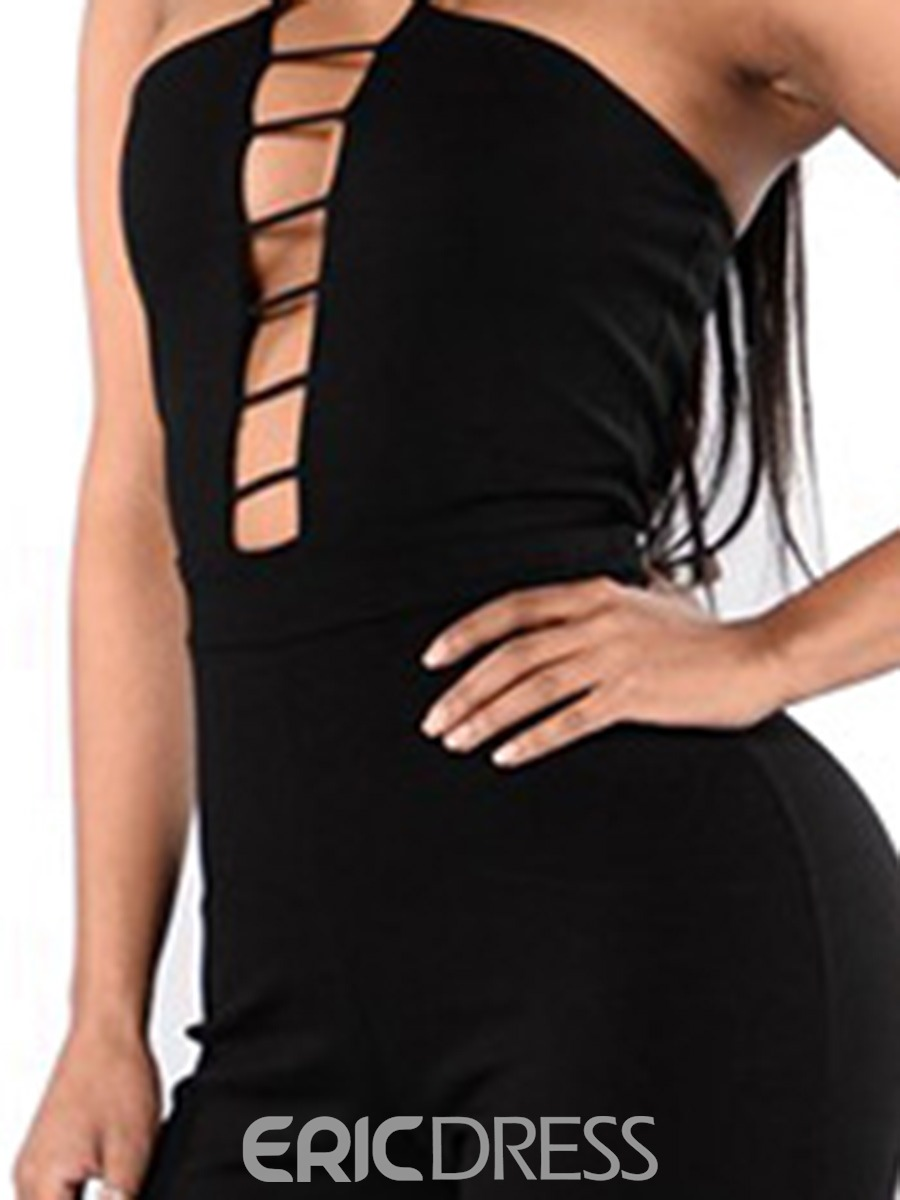 Ericdress Backless Lace-Up Skinny Jumpsuits Pants
