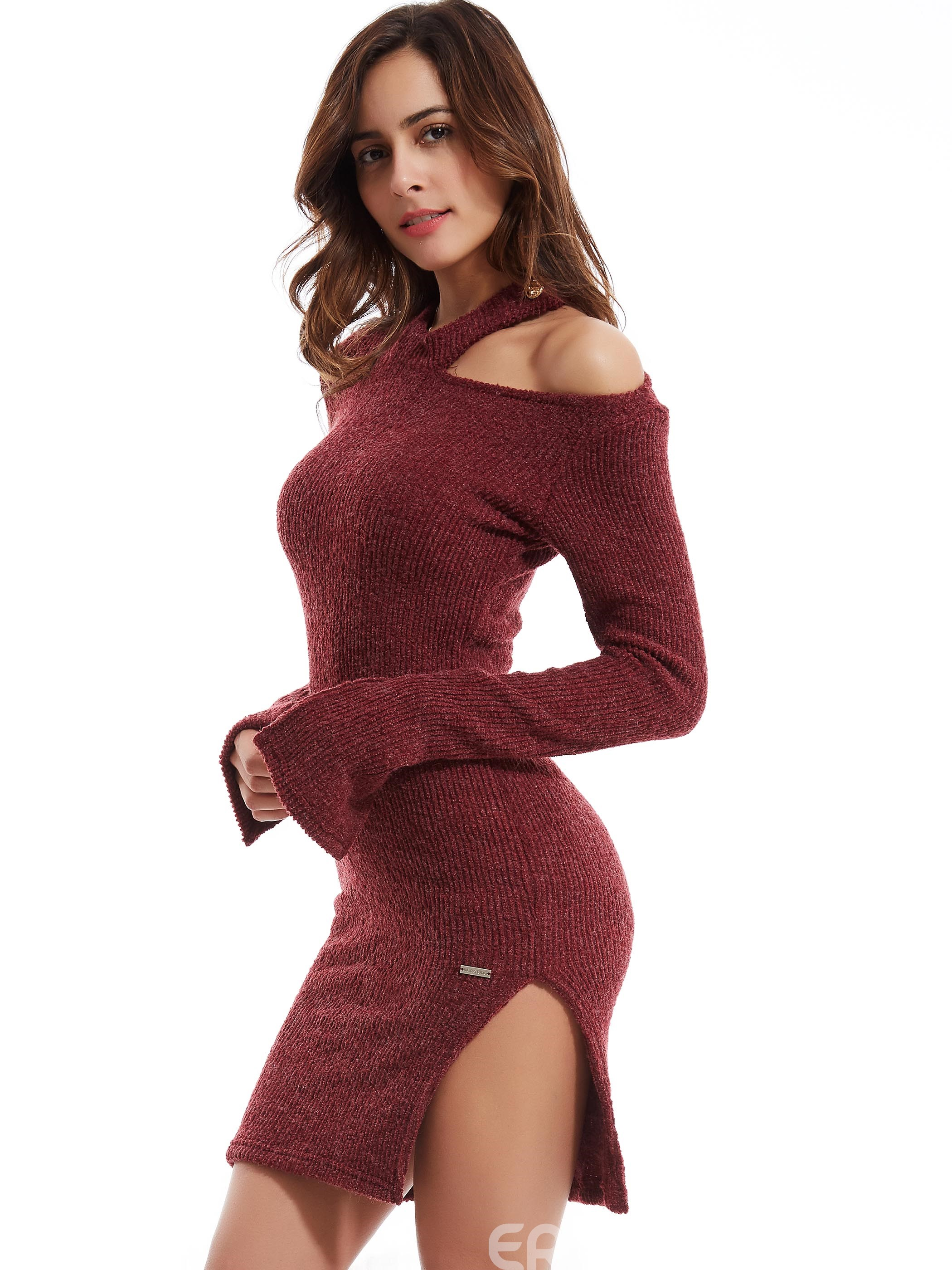 Ericdress Plain Flare Sleeves Hollow Sweater Dress