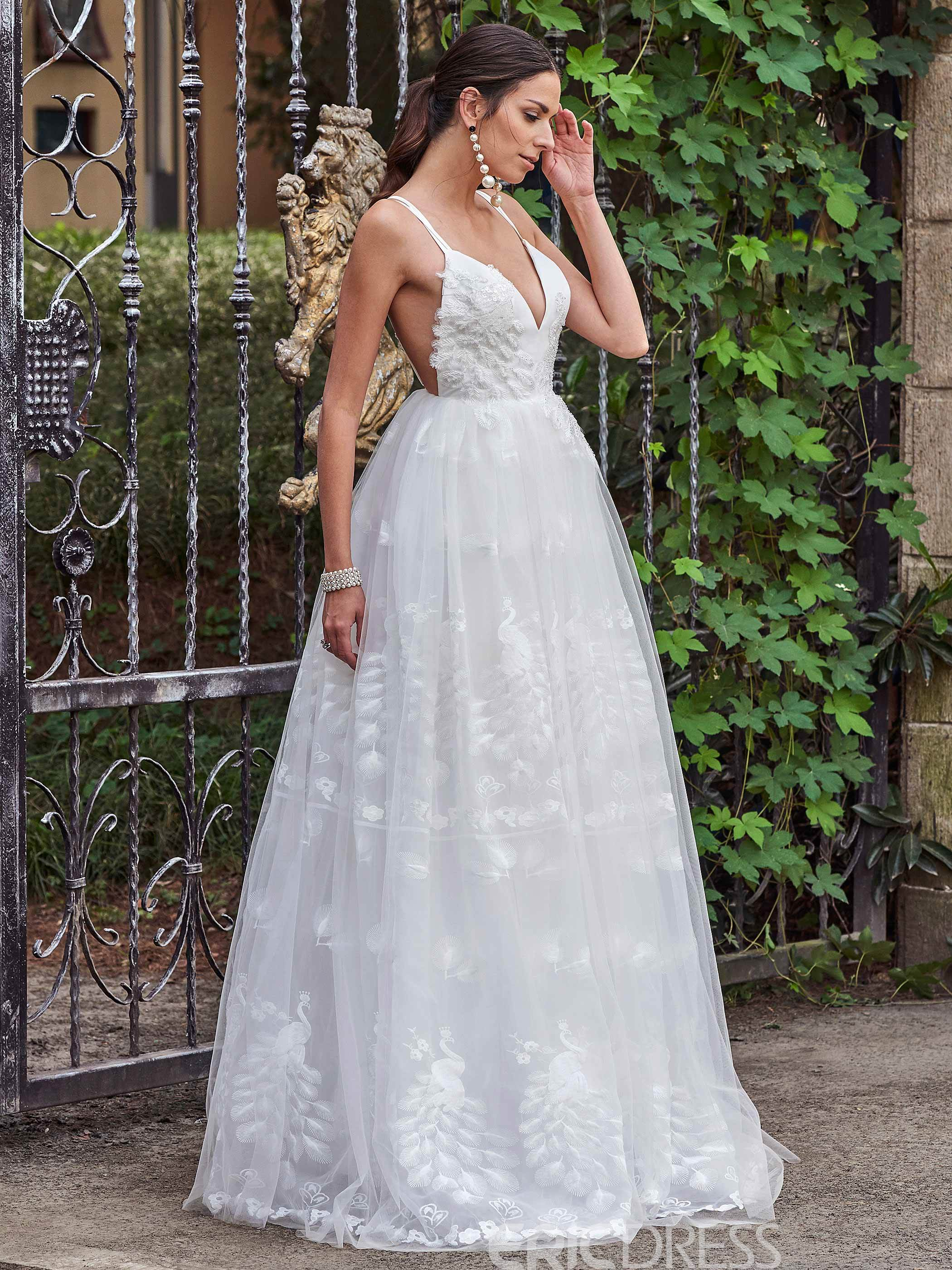 Ericdress Charming Spaghetti Straps A Line Backless Lace Wedding Dress