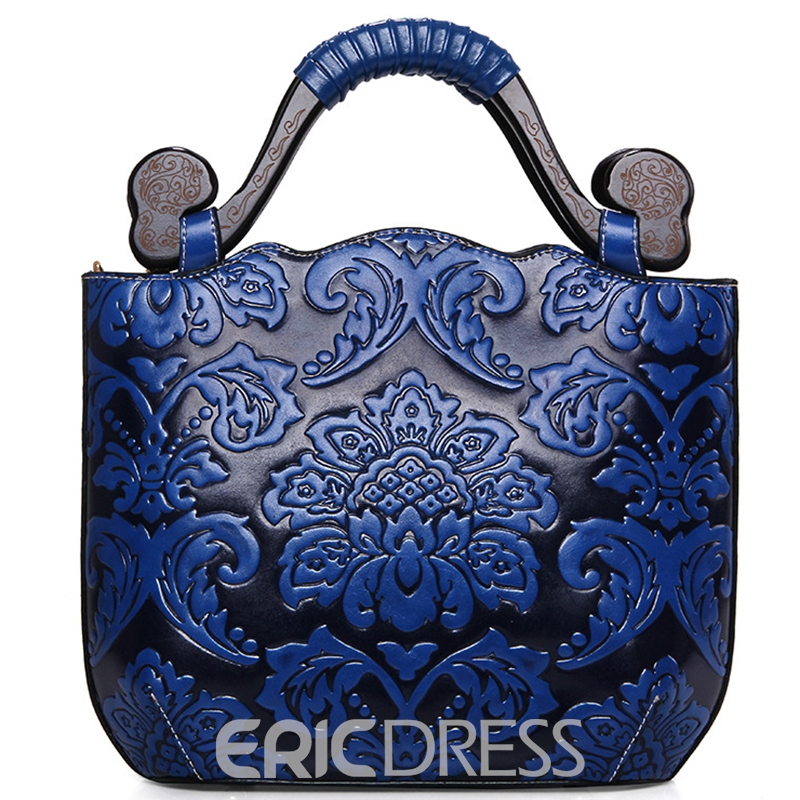 Ericdress Stylish Floral Embossed Women Handbag