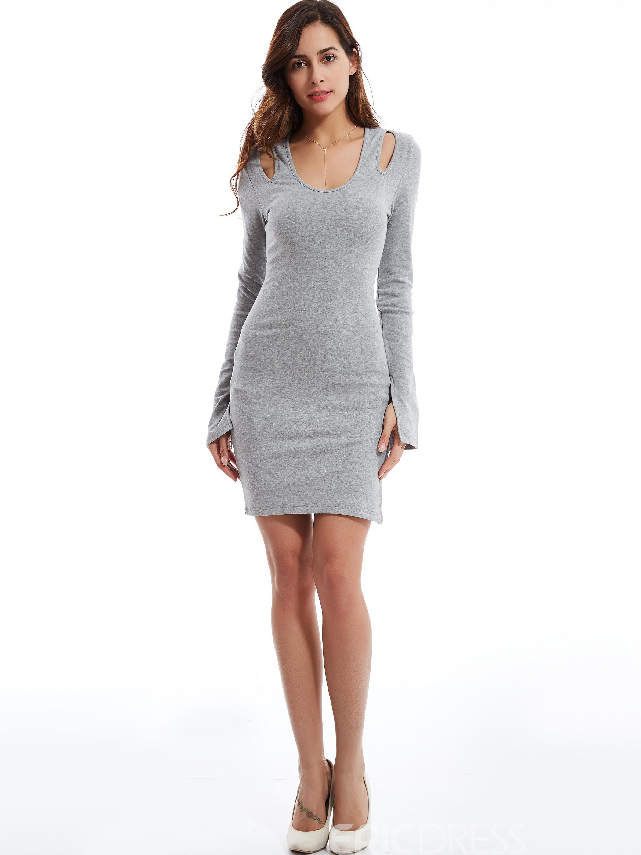 Ericdress Plain Round Neck Hollow Bodycon Dress
