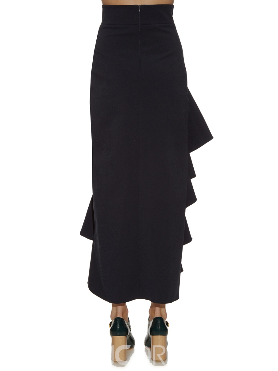 Ericdress Solid Colod Asymmetric Ruffles Skirt